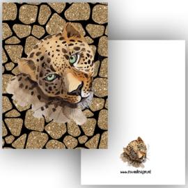 Kaart Leopard goud zwart