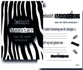 Kaart bedankt meester zebra