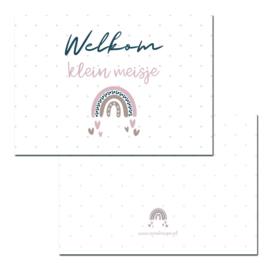 Kaart Welkom klein meisje Rainbow