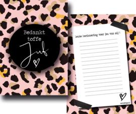 Kaart bedankt toffe juf leopard roze
