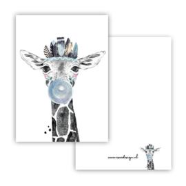 Mini kaartje Boho Giraffe blauw