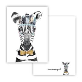Mini kaartje Boho Zebra blauw