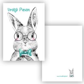 Mini kaartje Boho Bunny blauw ( Vrolijk pasen )