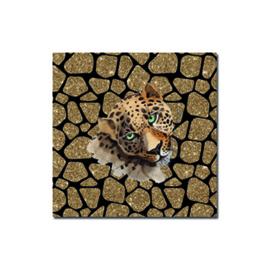 Kadosticker vierkant Leopard zwart