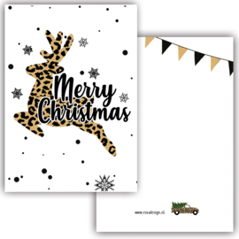 Mini kaartje Merry Christmas deer