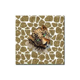 Kadosticker vierkant Leopard wit