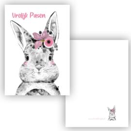 Mini kaartje Boho Bunny roze ( Vrolijk pasen )