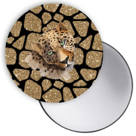 Spiegel Leopard goud zwart