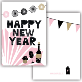 Mini kaart Happy New Year Bottled