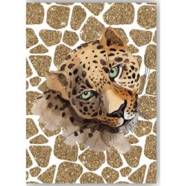 Poster Leopard wit