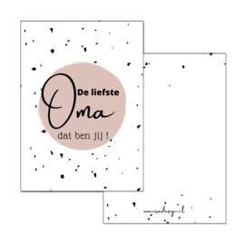 Kaart Liefste Oma roze