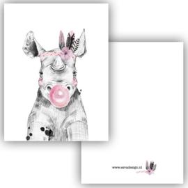Mini kaartje Boho Nijlpaard