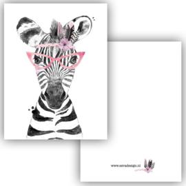 Mini kaartje Boho Zebra