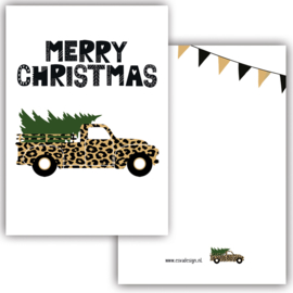 Mini kaartje Merry Christmas Car