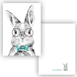 Mini kaartje Boho Bunny blauw
