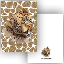 Kaart Leopard goud wit