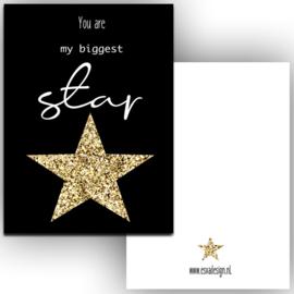 Mini kaartje biggest star zwart
