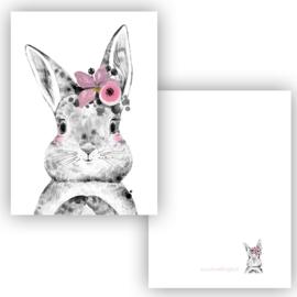 Mini kaartje Boho Bunny roze