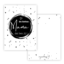 Mini kaartje De liefste mama zw/wit