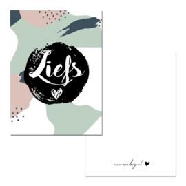 Mini kaartje Liefs groen/roze