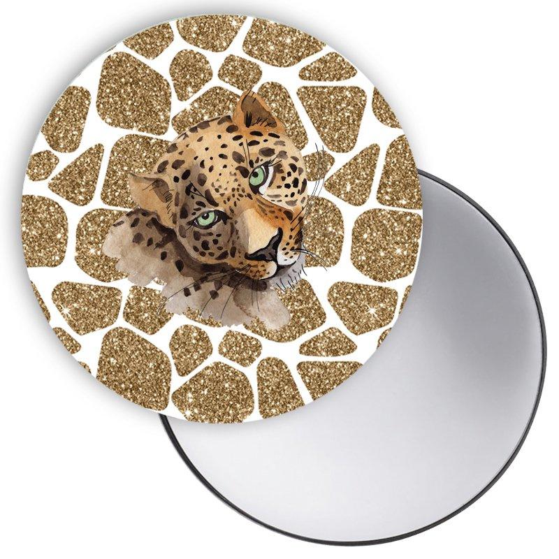Spiegel Leopard goud wit