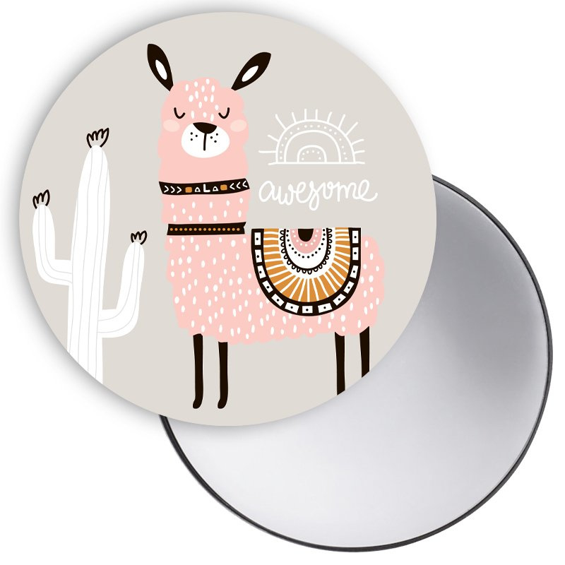 Spiegel Lama pink awesome