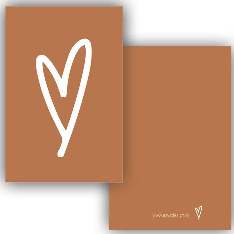 Mini kaartje hart cognac