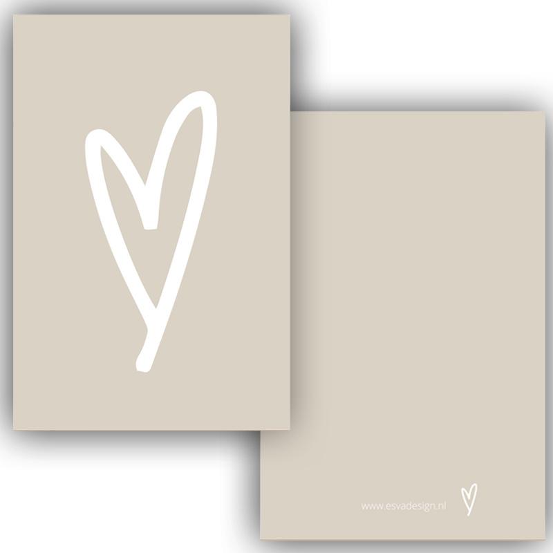Mini kaartje hart creme