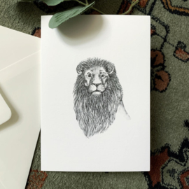 Zwart-Wit Wenskaart Leeuw