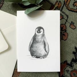 Zwart-Wit Wenskaart Pinguïn