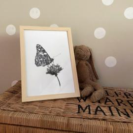 Zwart-Wit Poster Vlinder