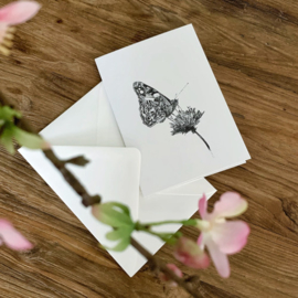 Zwart-Wit Wenskaart Vlinder