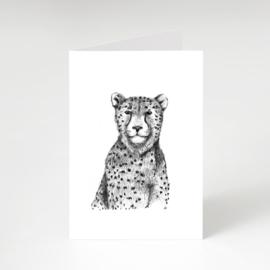 Zwart-Wit Wenskaart Cheetah