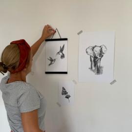 Zwart-Wit Poster Olifant