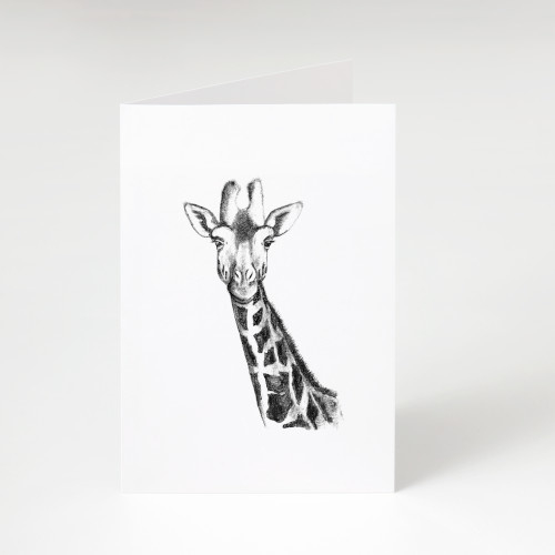 Zwart-Wit Wenskaart Giraffe