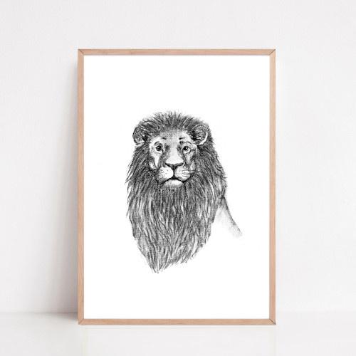 Zwart-Wit Poster Leeuw
