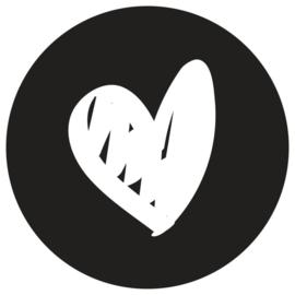 Muurcirkel | Hart zwart | 30 cm