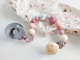 Speenkoord pink/peach/grey