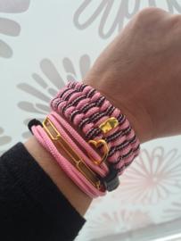 Paracord Armband Slim Trilobite Zwart en Roze _SET