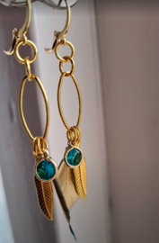 """""""BoHo Gold-dip Feather Happy Style Turquoise Green"""""""