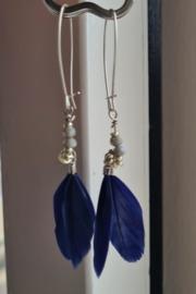 """""""Boho Blue Feather Style"""" Oorbellen"""