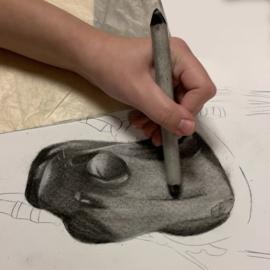 Fysieke tekenlessen tekenen met houtskool