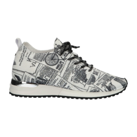 Lastrada laced up sneakers wit newspaper