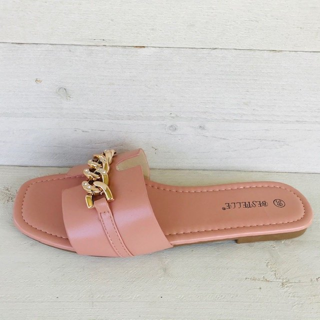 Gave chain slippers pink