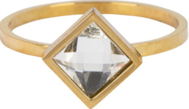 Ring Square Crystal Gold Steel