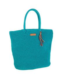Rieten handtas licht blauw