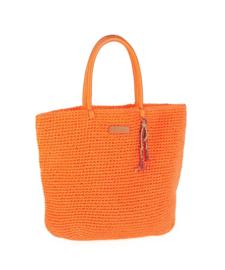 Rieten handtas oranje