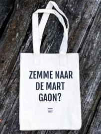 Grote canvas tas 'Zemme naar de mart gaon?'