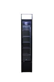 Glasdeurkoelkast   Flessenkoelkast smal model zwart 105 Liter