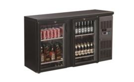 Barkoelkast | Barkoeling met 2 glazen deuren zwart  86cm hoog